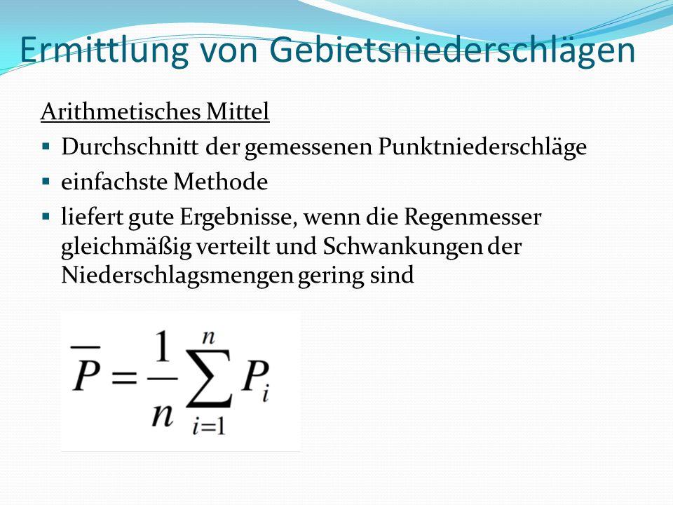 Ermittlung von Gebietsniederschlägen Arithmetisches Mittel Durchschnitt der gemessenen Punktniederschläge einfachste Methode liefert gute Ergebnisse,