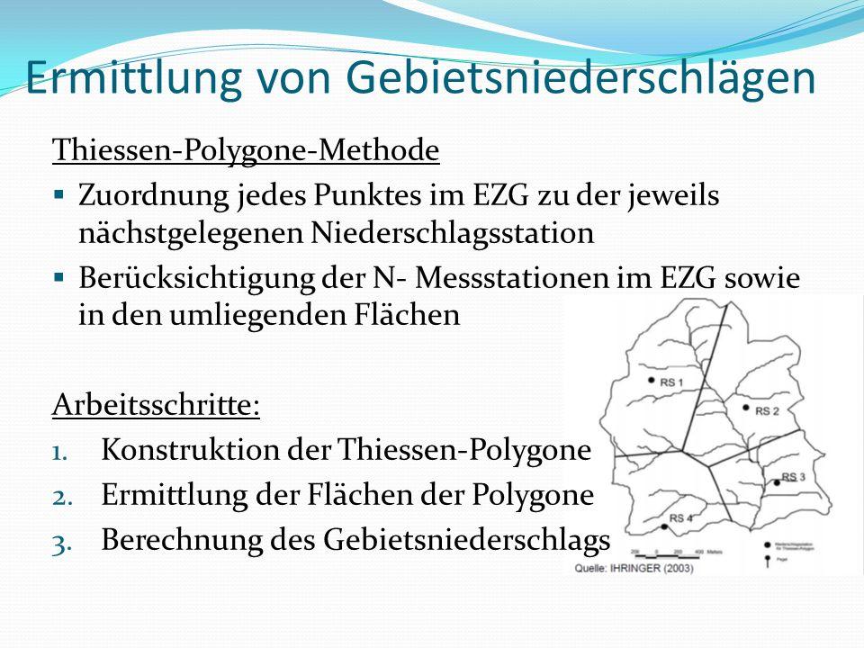 Ermittlung von Gebietsniederschlägen Thiessen-Polygone-Methode Zuordnung jedes Punktes im EZG zu der jeweils nächstgelegenen Niederschlagsstation Berü
