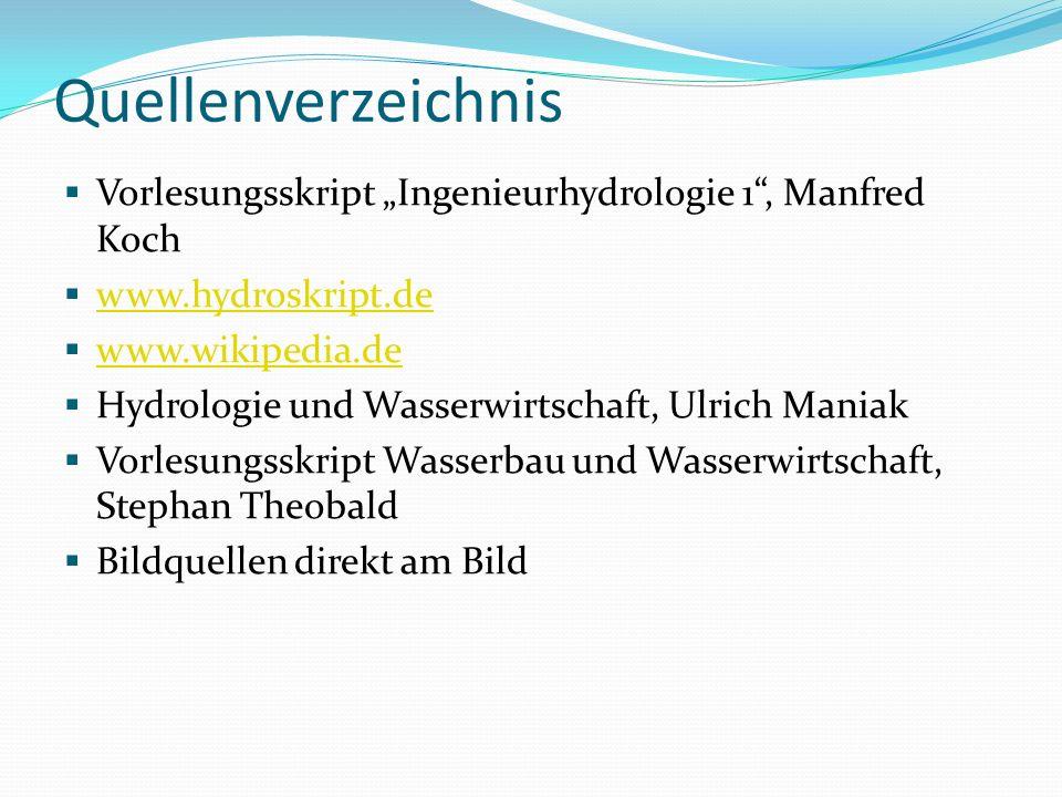 Quellenverzeichnis Vorlesungsskript Ingenieurhydrologie 1, Manfred Koch www.hydroskript.de www.wikipedia.de Hydrologie und Wasserwirtschaft, Ulrich Ma