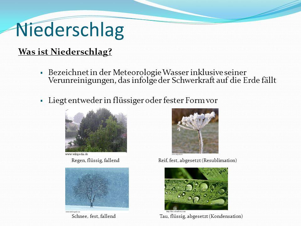 Niederschlag Voraussetzungen für die Entstehung: Genügend Wasserdampf in der Atmosphäre Vorhandensein von Kondensationskernen oder Eiskeimen Hebungsprozesse und Abkühlungsvorgänge