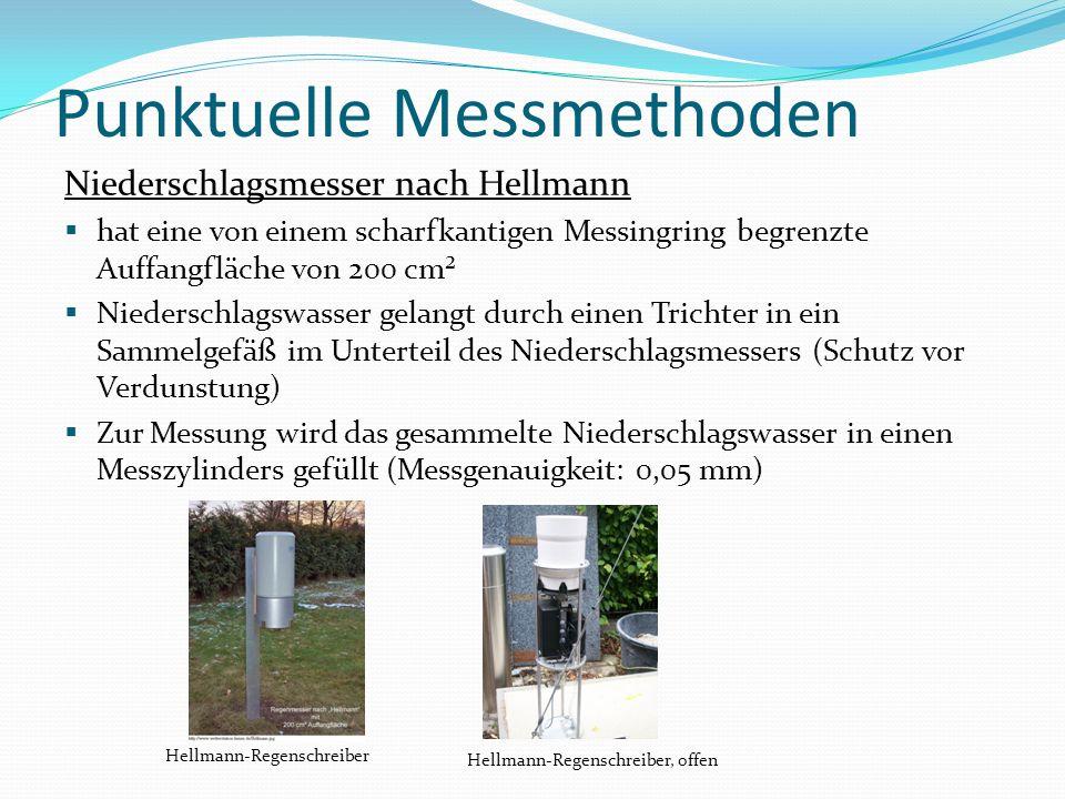 Punktuelle Messmethoden Auffangfläche F = 200 cm² Aufstellungshöhe x zwischen 0 und 6 Meter [mm] h N: : Regenhöhe [mm] z: Höhe des Wasserspiegels im Messgefäß [mm] f: Querschnittsfläche des Messgefäßes [mm 2 ] F: Auffangfläche [cm 2]