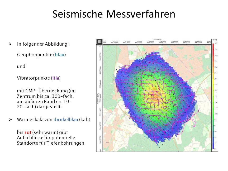 Seismische Messverfahren In folgender Abbildung : Geophonpunkte (blau) und Vibratorpunkte (lila) mit CMP- Überdeckung (im Zentrum bis ca. 300-fach, am