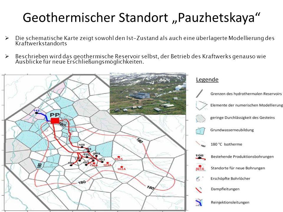Geothermischer Standort Pauzhetskaya Die schematische Karte zeigt sowohl den Ist-Zustand als auch eine überlagerte Modellierung des Kraftwerkstandorts