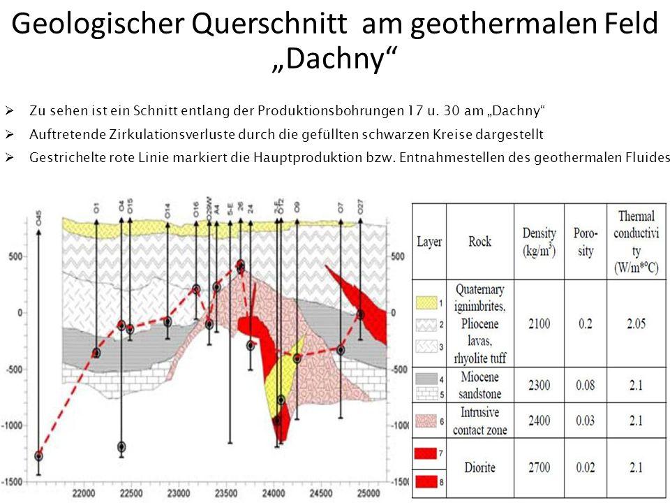 Geologischer Querschnitt am geothermalen Feld Dachny Zu sehen ist ein Schnitt entlang der Produktionsbohrungen 17 u. 30 am Dachny Auftretende Zirkulat