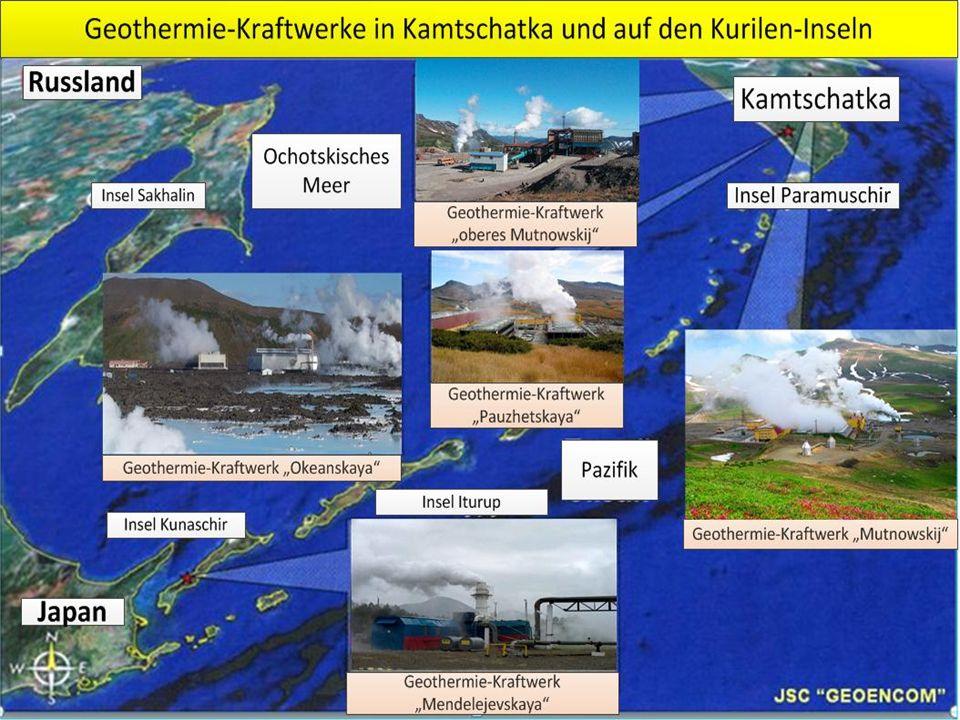 Geothermischer Standort Pauzhetskaya Im oberen Graphen sind die Förderraten von Thermalwasser bei Pauzhetskaya über die Jahre 1960 bis 2006 abgetragen Die Fördermenge ist eine Akkumulation aus alten (grau) und neuen (rot) Produktionsbohrungen Der untere Graph bildet Anteil an Thermalwasser ab, der in den Boden zurück injiziert wird - Blaue Ausfärbung der Kurve, kaltes Thermalwasser bei der Reinjektion - Pinke Färbung bedeutet: Temperatur bei 100-120 °C Reinjektion zur Vermeidung von Umweltschäden, - Giftiger Schwefelwasserstoff - Eisen II-haltiges Wasser Hydrothermale Dublette notwendig zur Rückführung des abgekühlten Wassers