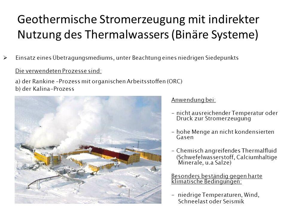 Geothermische Stromerzeugung mit indirekter Nutzung des Thermalwassers (Binäre Systeme) Einsatz eines Übetragungsmediums, unter Beachtung eines niedri
