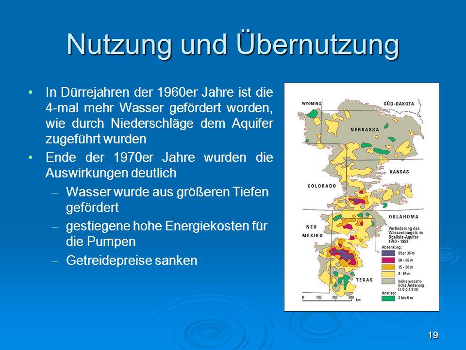 Nutzung und Übernutzung In Dürrejahren der 1960er Jahre ist die 4-mal mehr Wasser gefördert worden, wie durch Niederschläge dem Aquifer zugeführt wurd