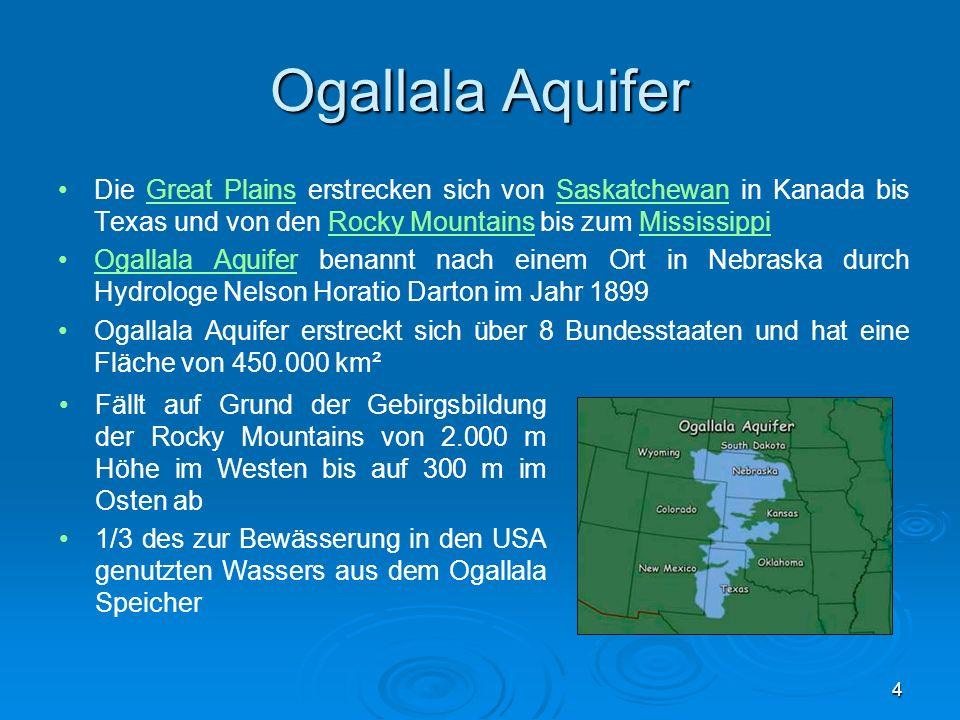 Ogallala Aquifer Klimaverhältnisse bilden in den östlichen Bereichen die Voraussetzung für mineralstoffhaltige, humusreiche Schwarzerden, die sog.