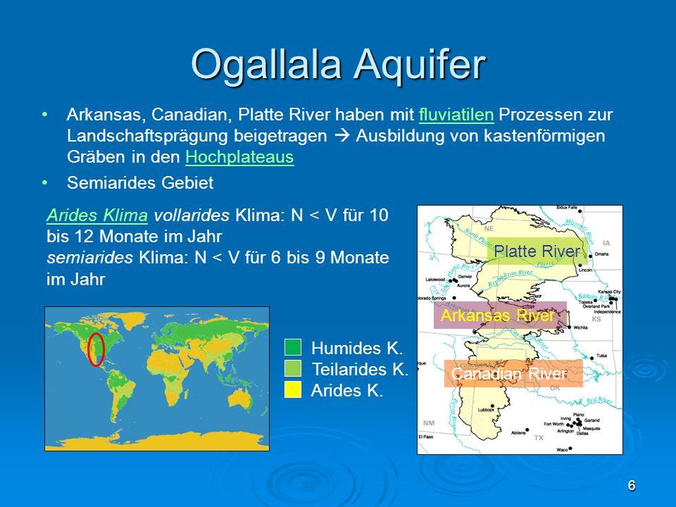 Ogallala Aquifer Arkansas, Canadian, Platte River haben mit fluviatilen Prozessen zur Landschaftsprägung beigetragen Ausbildung von kastenförmigen Grä