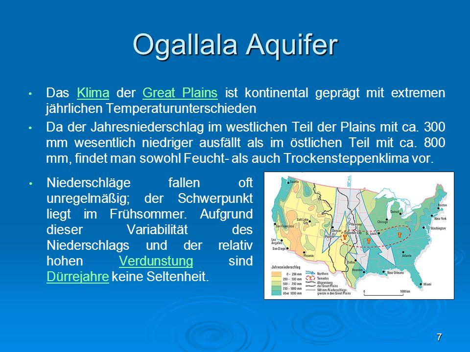 Ogallala Aquifer Das Klima der Great Plains ist kontinental geprägt mit extremen jährlichen TemperaturunterschiedenKlimaGreat Plains Da der Jahresnied