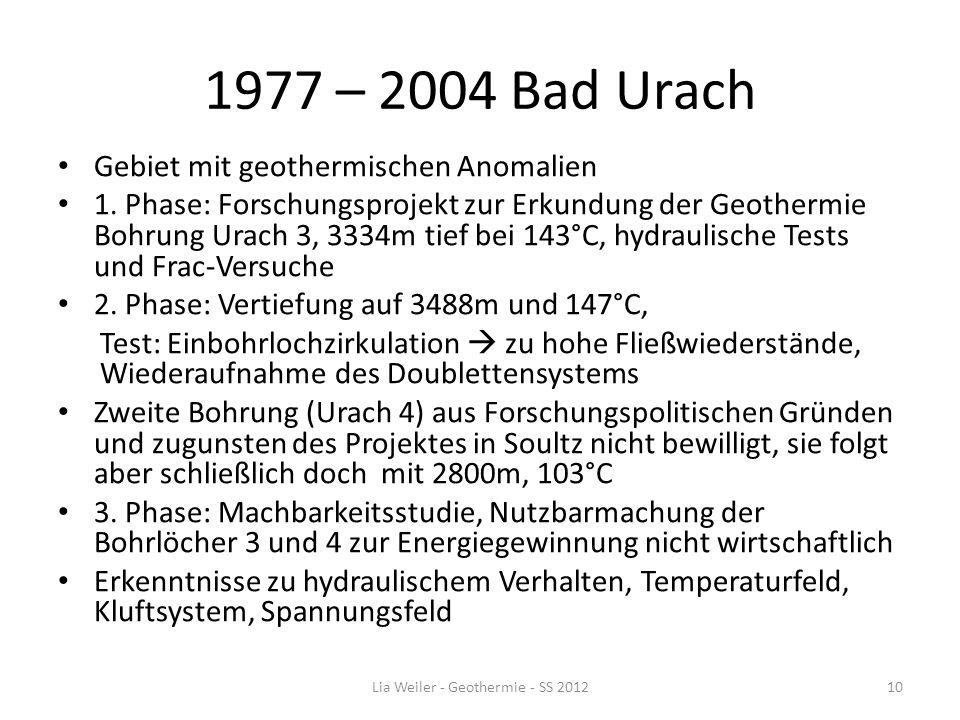 1977 – 2004 Bad Urach Gebiet mit geothermischen Anomalien 1. Phase: Forschungsprojekt zur Erkundung der Geothermie Bohrung Urach 3, 3334m tief bei 143
