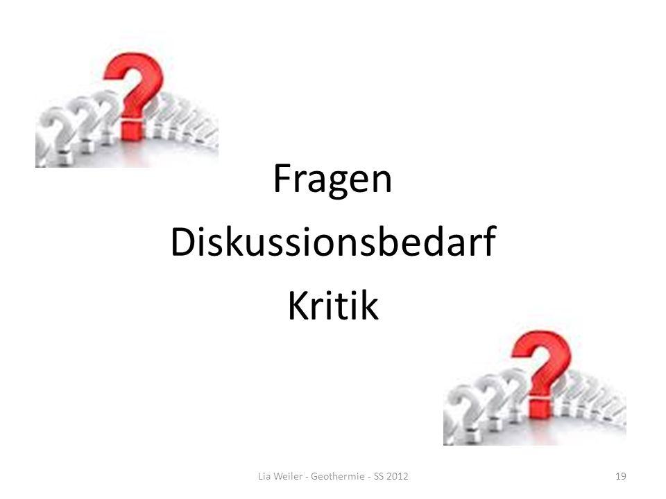 Fragen Diskussionsbedarf Kritik Lia Weiler - Geothermie - SS 201219