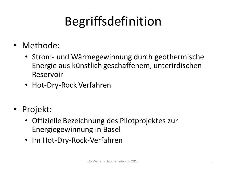Begriffsdefinition Methode: Strom- und Wärmegewinnung durch geothermische Energie aus künstlich geschaffenem, unterirdischen Reservoir Hot-Dry-Rock Ve