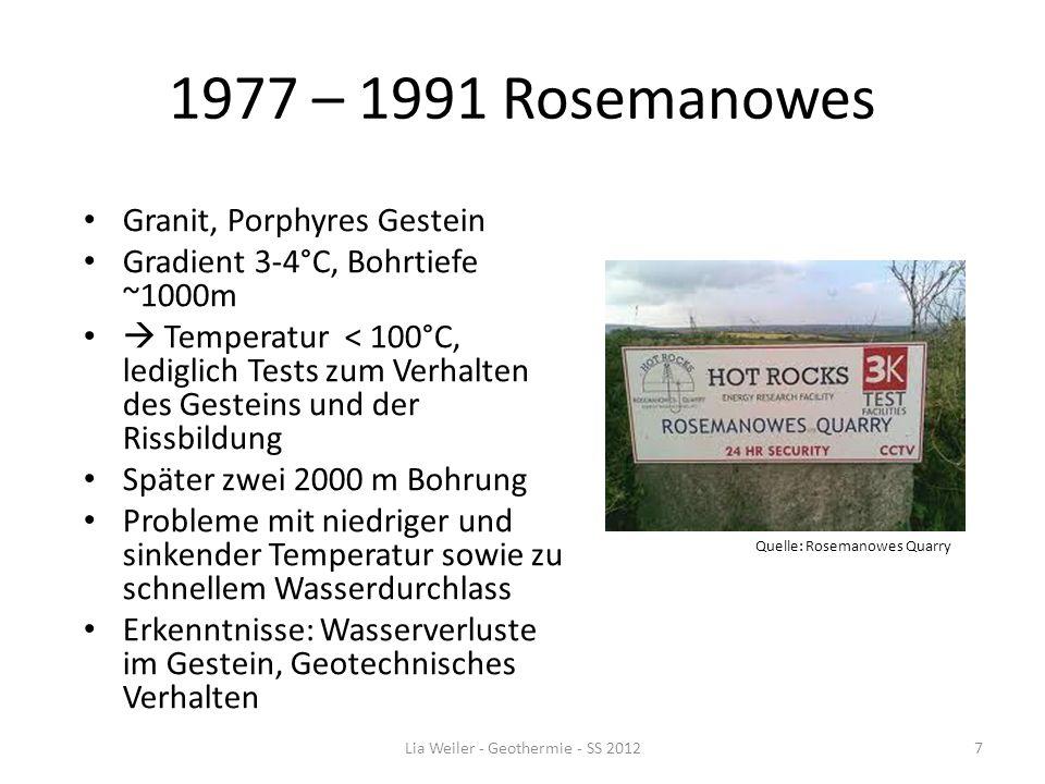 1977 – 1991 Rosemanowes Granit, Porphyres Gestein Gradient 3-4°C, Bohrtiefe ~1000m Temperatur < 100°C, lediglich Tests zum Verhalten des Gesteins und
