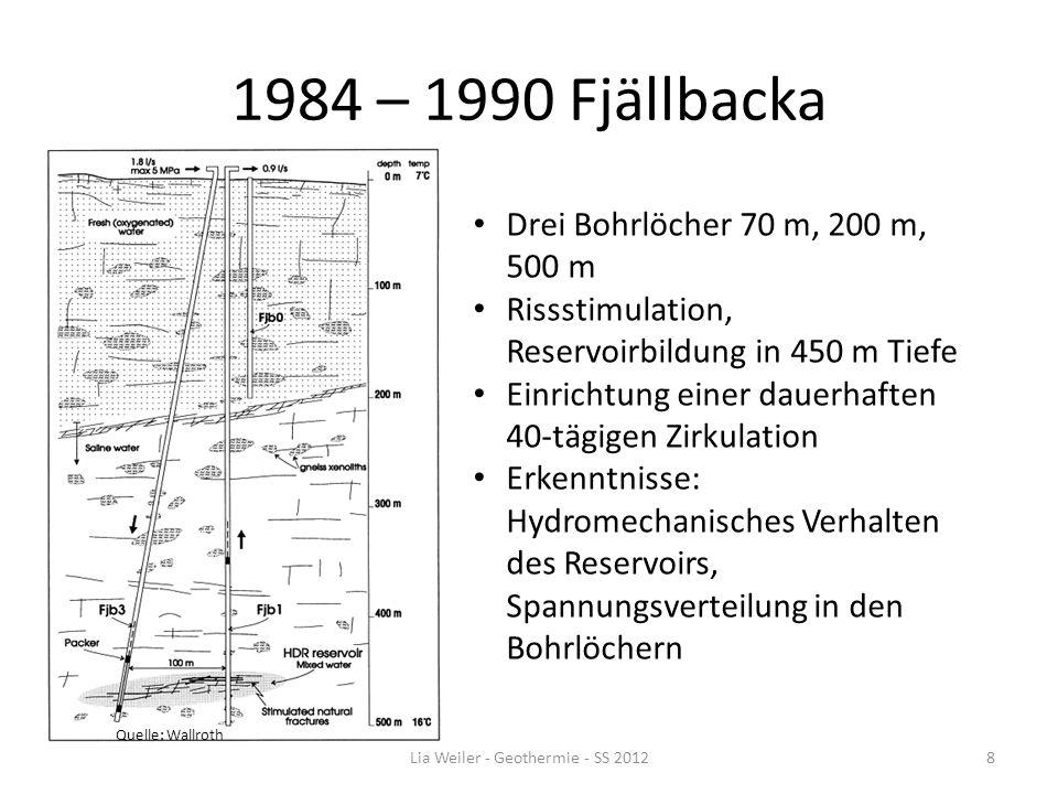 1984 – 1990 Fjällbacka Quelle: Wallroth Drei Bohrlöcher 70 m, 200 m, 500 m Rissstimulation, Reservoirbildung in 450 m Tiefe Einrichtung einer dauerhaf