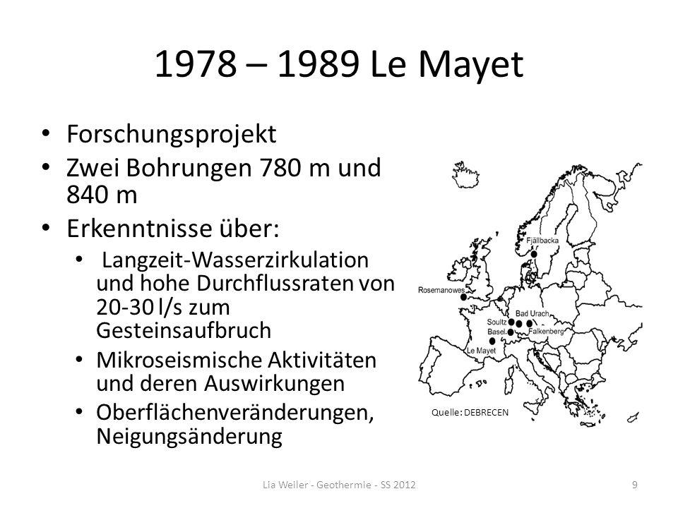 1978 – 1989 Le Mayet Forschungsprojekt Zwei Bohrungen 780 m und 840 m Erkenntnisse über: Langzeit-Wasserzirkulation und hohe Durchflussraten von 20-30