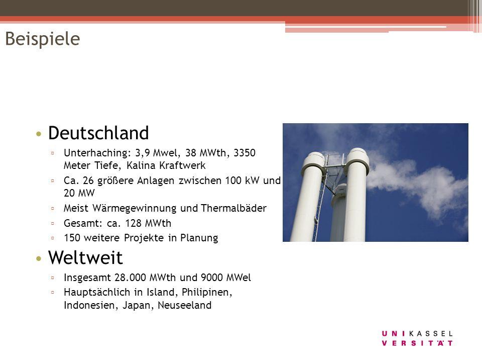 Beispiele Deutschland Unterhaching: 3,9 Mwel, 38 MWth, 3350 Meter Tiefe, Kalina Kraftwerk Ca. 26 größere Anlagen zwischen 100 kW und 20 MW Meist Wärme