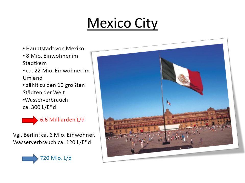 Mexico City Hauptstadt von Mexiko 8 Mio. Einwohner im Stadtkern ca. 22 Mio. Einwohner im Umland zählt zu den 10 größten Städten der Welt Wasserverbrau