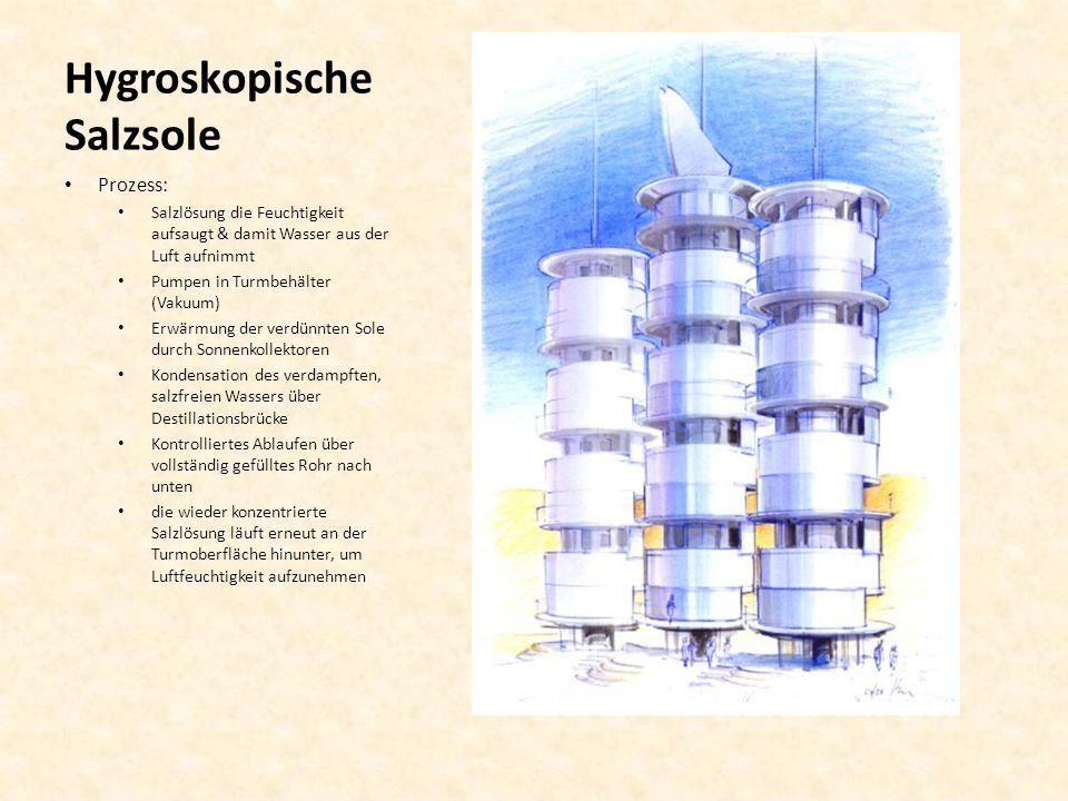 Hygroskopische Salzsole Prozess: Salzlösung die Feuchtigkeit aufsaugt & damit Wasser aus der Luft aufnimmt Pumpen in Turmbehälter (Vakuum) Erwärmung d