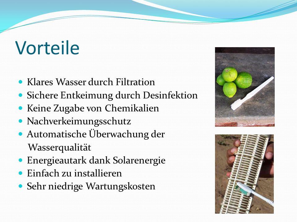 Vorteile Klares Wasser durch Filtration Sichere Entkeimung durch Desinfektion Keine Zugabe von Chemikalien Nachverkeimungsschutz Automatische Überwach