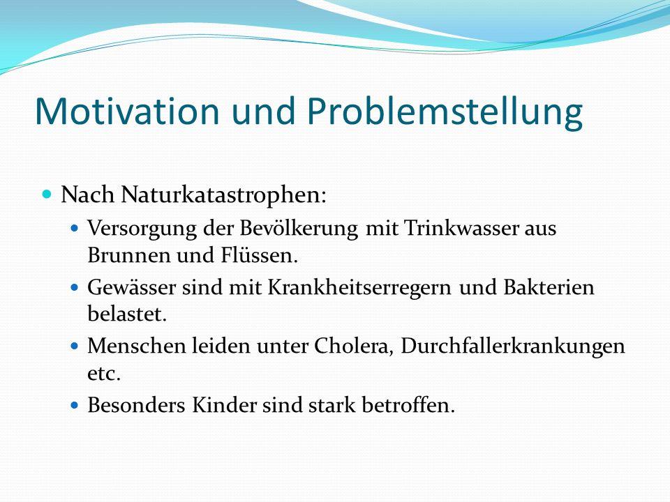 Motivation und Problemstellung Nach Naturkatastrophen: Versorgung der Bevölkerung mit Trinkwasser aus Brunnen und Flüssen. Gewässer sind mit Krankheit