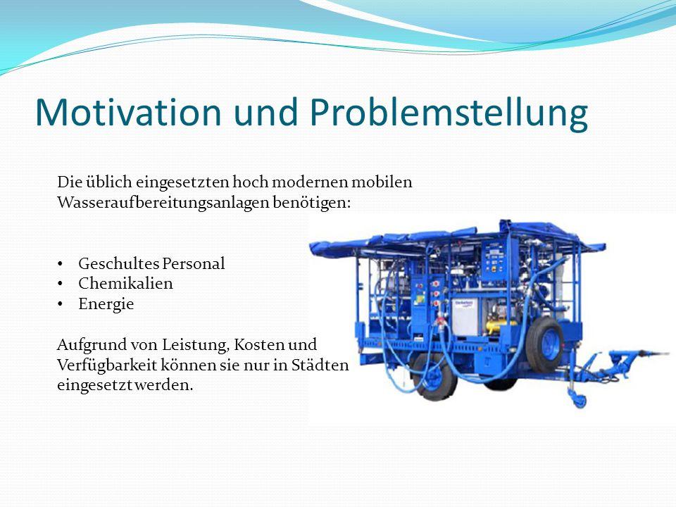Motivation und Problemstellung Die üblich eingesetzten hoch modernen mobilen Wasseraufbereitungsanlagen benötigen: Geschultes Personal Chemikalien Ene