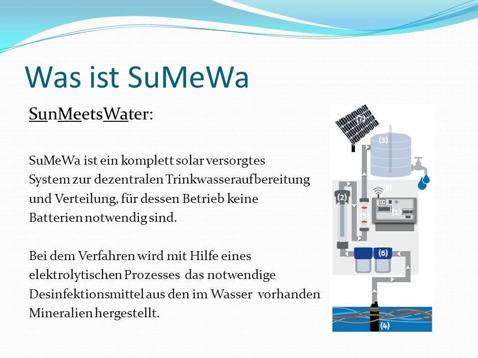 Was ist SuMeWa SunMeetsWater: SuMeWa ist ein komplett solar versorgtes System zur dezentralen Trinkwasseraufbereitung und Verteilung, für dessen Betri