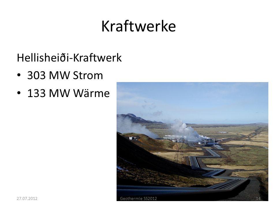 Kraftwerke Hellisheiði-Kraftwerk 303 MW Strom 133 MW Wärme 1427.07.2012Geothermie SS2012