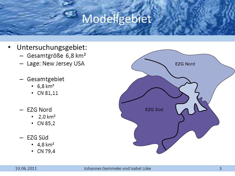 Johannes Gemmeke und Isabel Lüke10.06.201114 Zusammenführen unterschiedlicher Einzugsgebiete (Aufgabe 3) Unterteilung des Untersuchungsgebiets in zwei Einzugsgebiete: EZG 1: 2,0 km² CN 85,2 EZG 2: 4,815 km² CN 79,4 Junction Hochwasserrückhaltebecken
