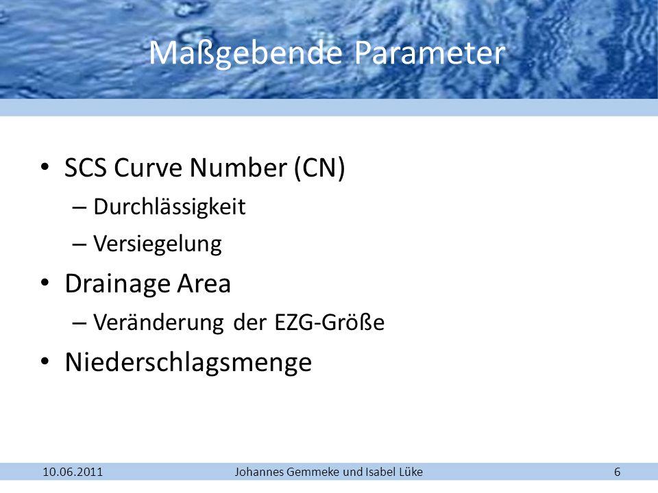 Johannes Gemmeke und Isabel Lüke10.06.20116 SCS Curve Number (CN) – Durchlässigkeit – Versiegelung Drainage Area – Veränderung der EZG-Größe Niedersch