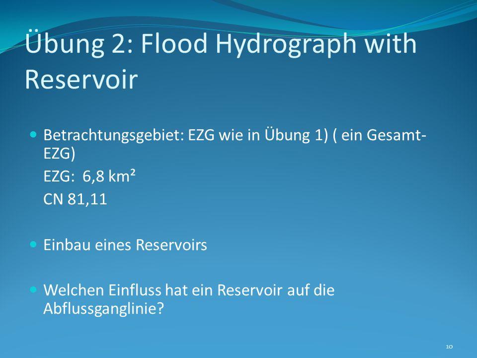 Übung 2: Flood Hydrograph with Reservoir Betrachtungsgebiet: EZG wie in Übung 1) ( ein Gesamt- EZG) EZG: 6,8 km² CN 81,11 Einbau eines Reservoirs Welc
