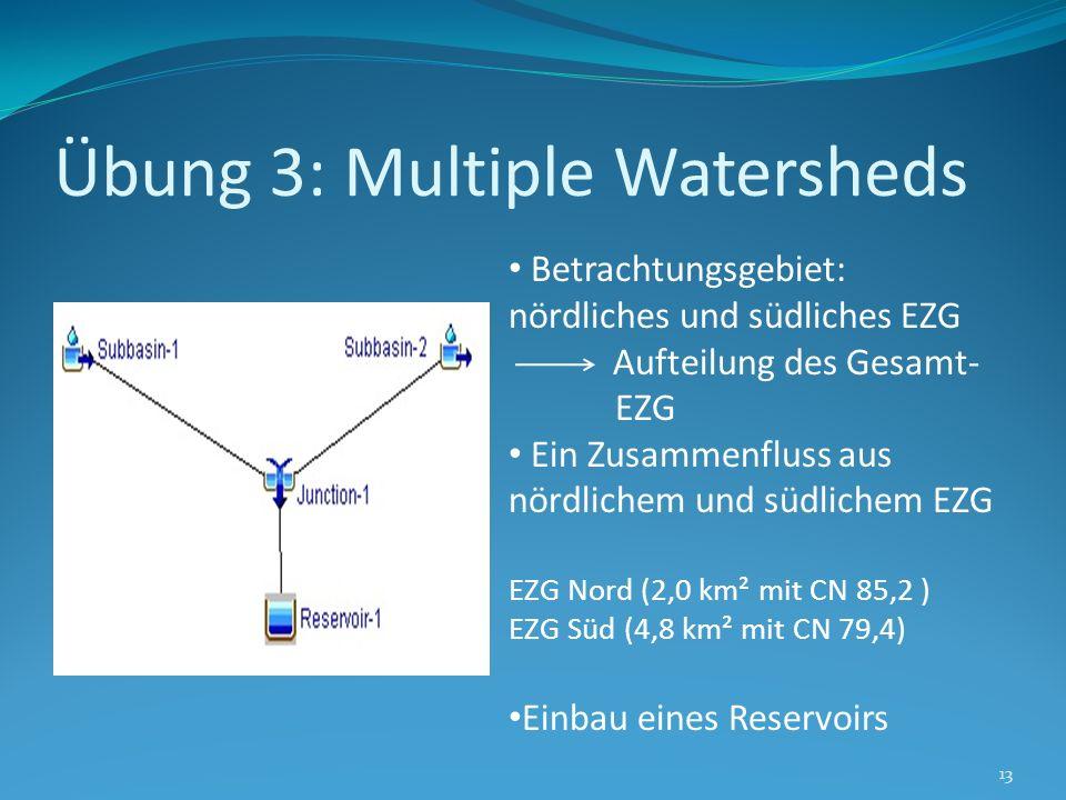 Übung 3: Multiple Watersheds 13 Betrachtungsgebiet: nördliches und südliches EZG Aufteilung des Gesamt- EZG Ein Zusammenfluss aus nördlichem und südli