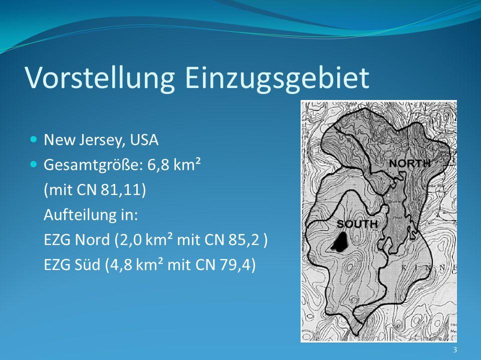 Vorstellung Einzugsgebiet New Jersey, USA Gesamtgröße: 6,8 km² (mit CN 81,11) Aufteilung in: EZG Nord (2,0 km² mit CN 85,2 ) EZG Süd (4,8 km² mit CN 7