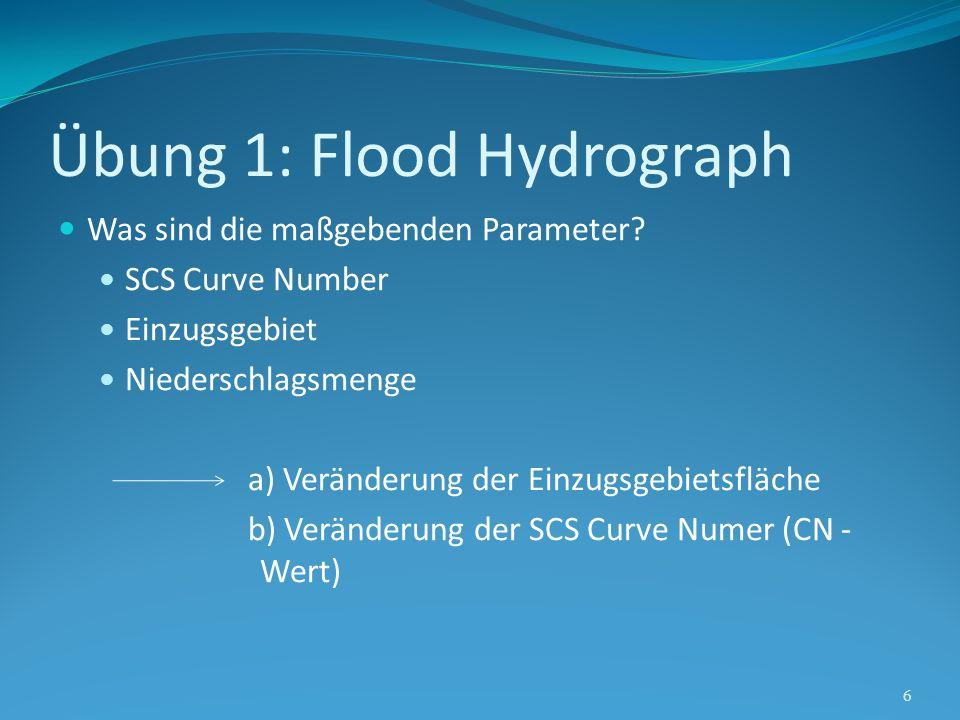 Übung 1: Flood Hydrograph 7 SCS Curve Number empirischer Parameter Verwendung in der Hydrologie Zur Bestimmung von direkten Abflüssen oder der Infiltration von Regen Wert ist abhängig von Bodengruppe (A,B,C), Landnutzung, hydrologischem Bodenstand (Poor, Fair, Good), Bodenbedeckung Je größer der Wert, desto mehr Oberflächenabfluss (0-100) Quelle: http://en.wikipedia.org/wiki/Runoff_curve_number