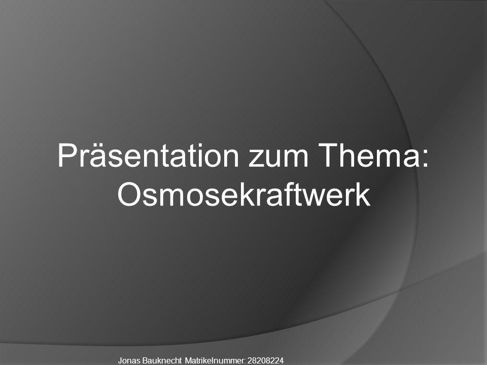 Jonas Bauknecht Matrikelnummer: 28208224 Präsentation zum Thema: Osmosekraftwerk