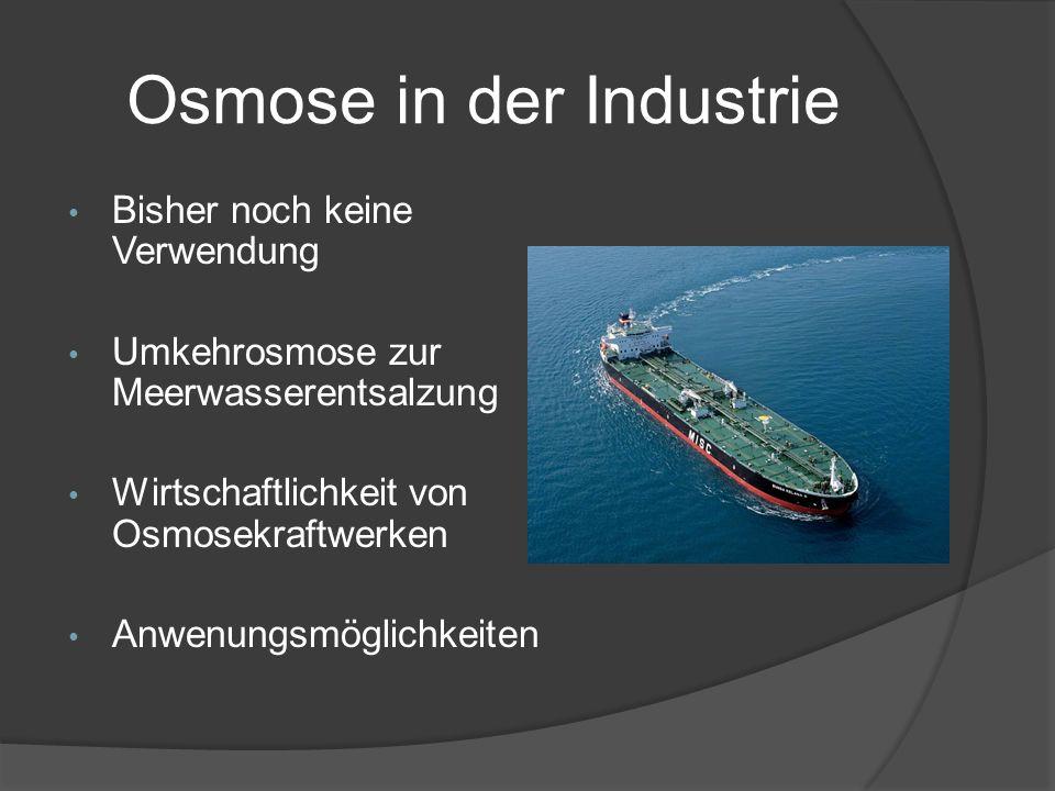 Osmose in der Industrie Bisher noch keine Verwendung Umkehrosmose zur Meerwasserentsalzung Wirtschaftlichkeit von Osmosekraftwerken Anwenungsmöglichke