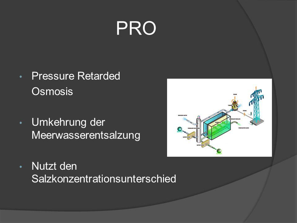 PRO Pressure Retarded Osmosis Umkehrung der Meerwasserentsalzung Nutzt den Salzkonzentrationsunterschied