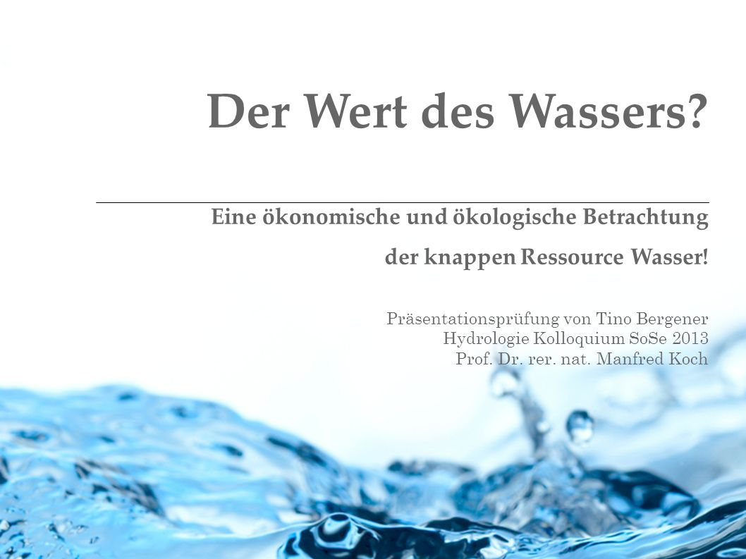 Präsentationsprüfung von Tino Bergener Hydrologie Kolloquium SoSe 2013 Prof. Dr. rer. nat. Manfred Koch Der Wert des Wassers? Eine ökonomische und öko