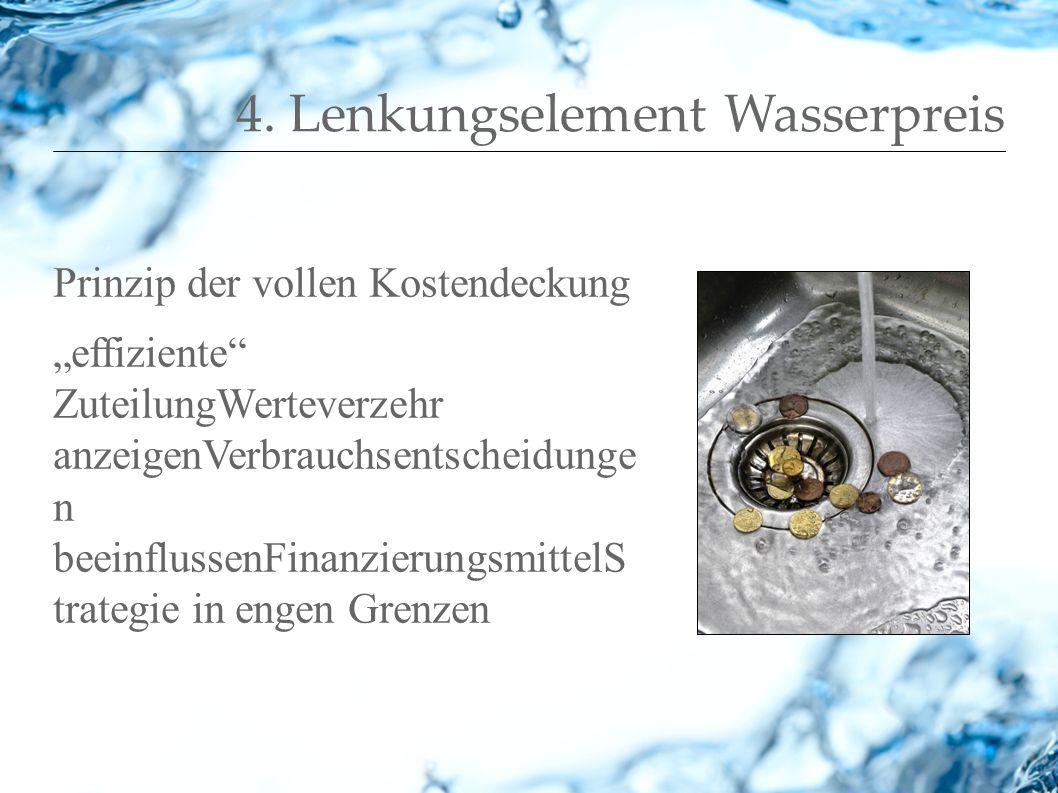 4. Lenkungselement Wasserpreis Prinzip der vollen Kostendeckung effiziente ZuteilungWerteverzehr anzeigenVerbrauchsentscheidunge n beeinflussenFinanzi