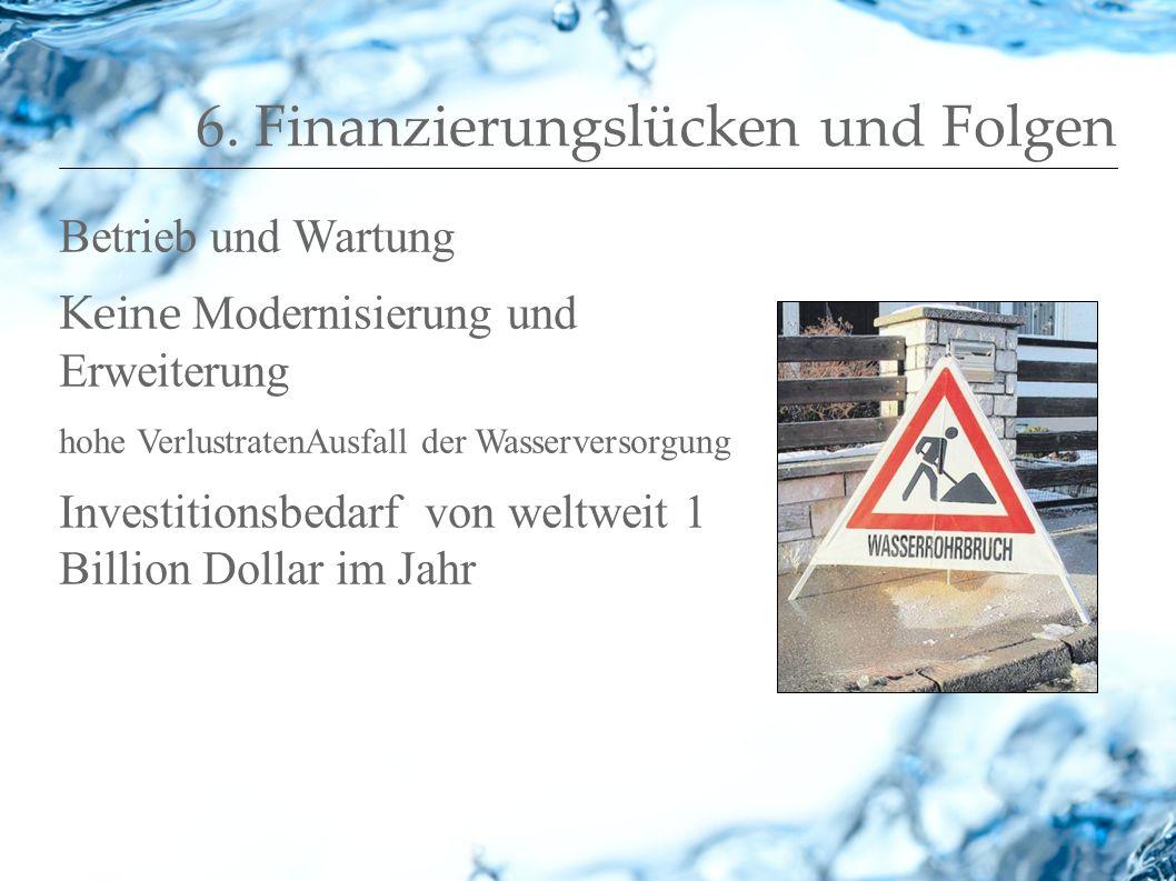 6. Finanzierungslücken und Folgen Betrieb und Wartung Keine Modernisierung und Erweiterung hohe VerlustratenAusfall der Wasserversorgung Investitionsb
