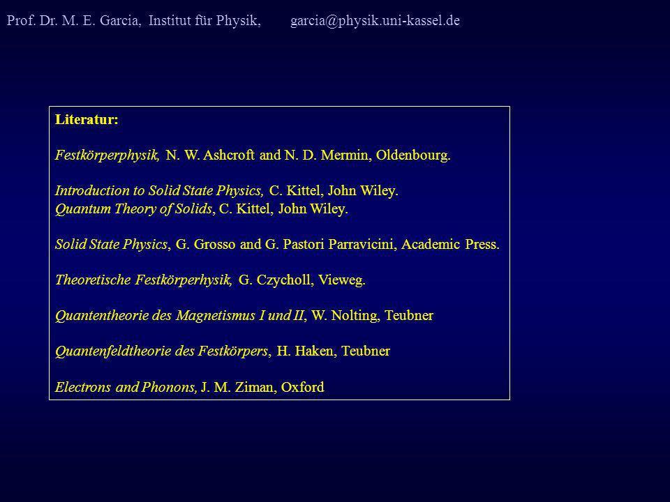 Prof. Dr. M. E. Garcia, Institut für Physik, garcia@physik.uni-kassel.de Literatur: Festkörperphysik, N. W. Ashcroft and N. D. Mermin, Oldenbourg. Int