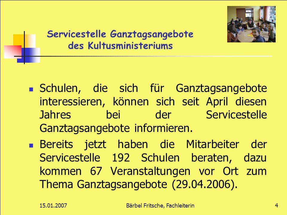 15.01.2007Bärbel Fritsche, Fachleiterin25 Premiere vom 18.09.-21.12.06 60 Schüler(innen) aus den 5.