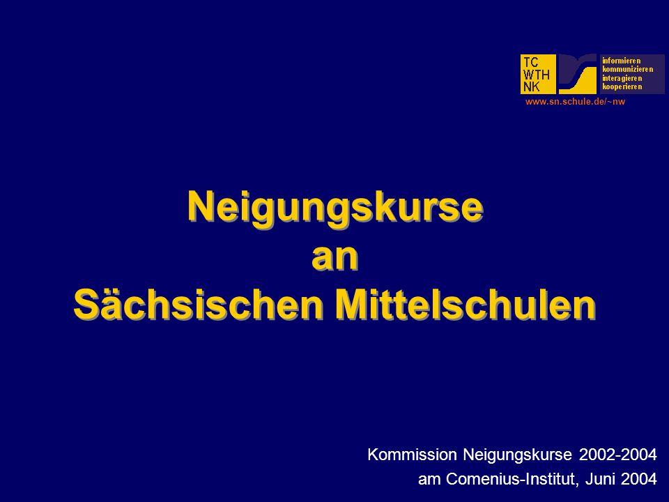 www.sn.schule.de/~nw Kommission Neigungskurse 2002-2004 am Comenius-Institut, Juni 2004 Neigungskurse an Sächsischen Mittelschulen
