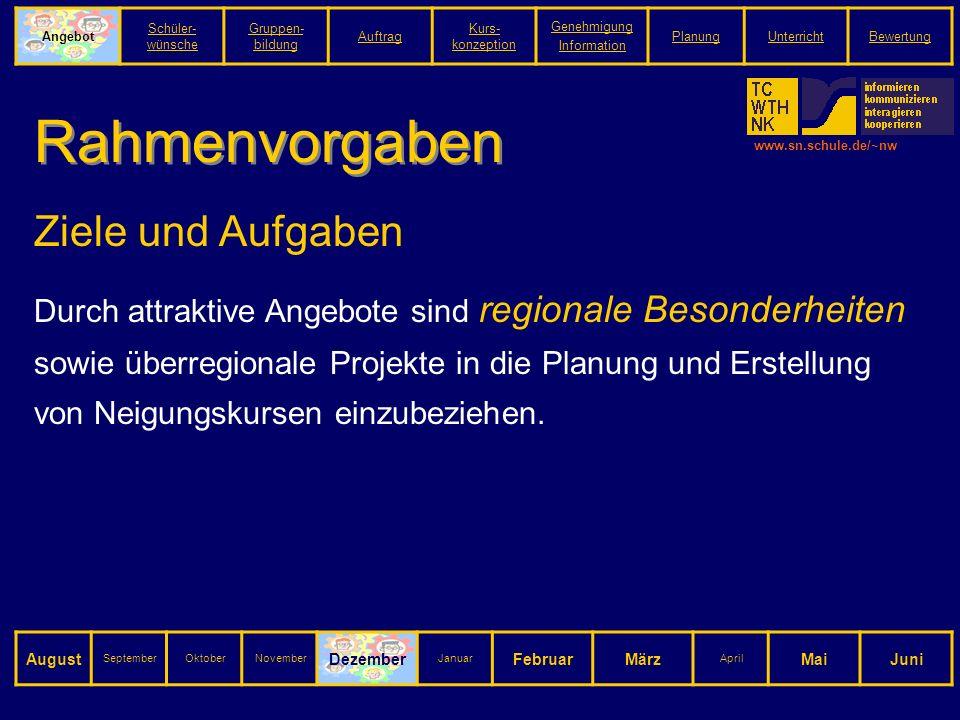 www.sn.schule.de/~nw Rahmenvorgaben Ziele und Aufgaben Durch attraktive Angebote sind regionale Besonderheiten sowie überregionale Projekte in die Planung und Erstellung von Neigungskursen einzubeziehen.