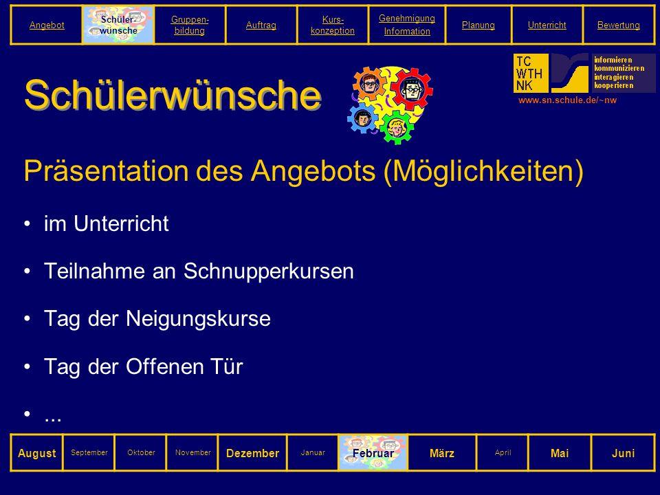 www.sn.schule.de/~nw Schülerwünsche Präsentation des Angebots (Möglichkeiten) im Unterricht Teilnahme an Schnupperkursen Tag der Neigungskurse Tag der Offenen Tür...