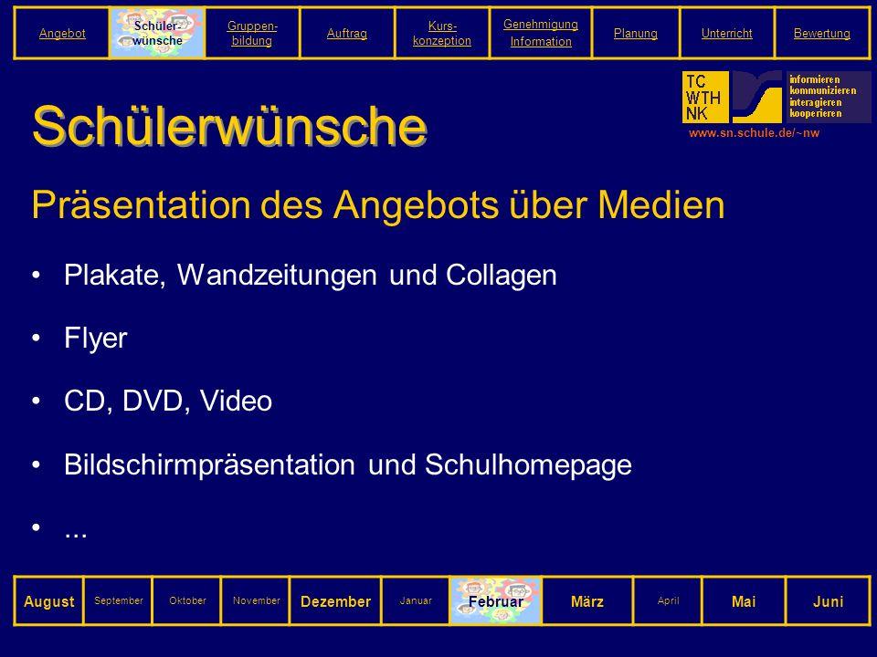 www.sn.schule.de/~nw Schülerwünsche Präsentation des Angebots über Medien Plakate, Wandzeitungen und Collagen Flyer CD, DVD, Video Bildschirmpräsentation und Schulhomepage...