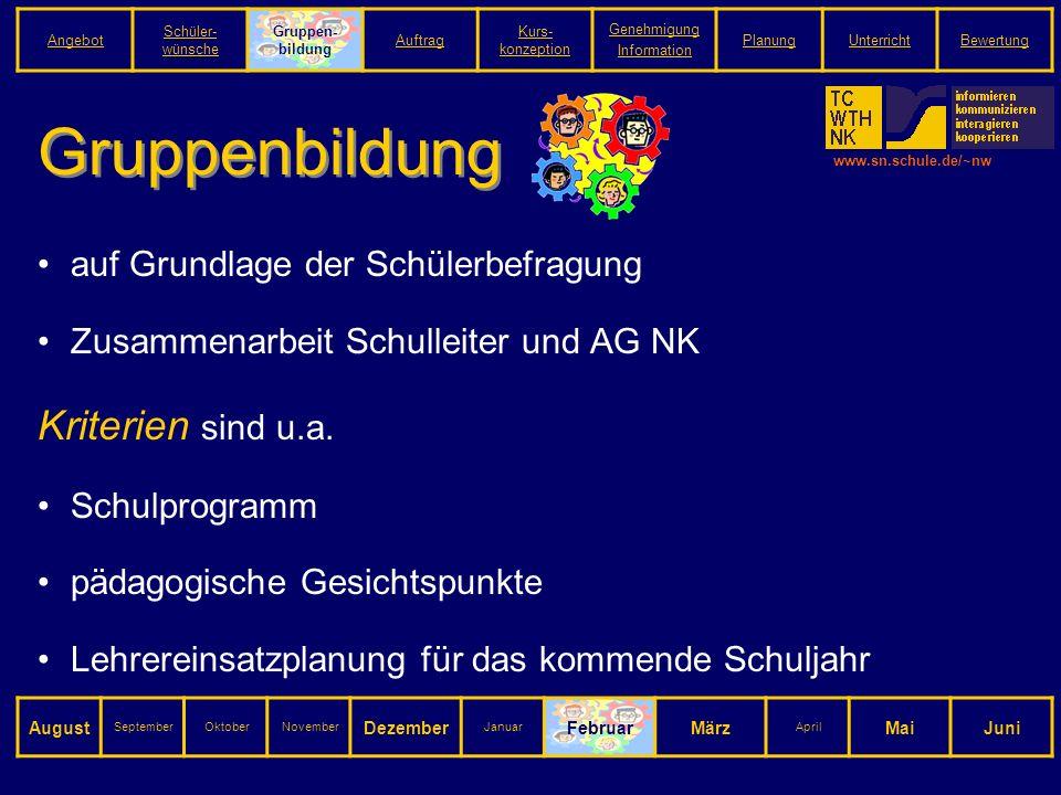 www.sn.schule.de/~nw Gruppenbildung auf Grundlage der Schülerbefragung Zusammenarbeit Schulleiter und AG NK Kriterien sind u.a.