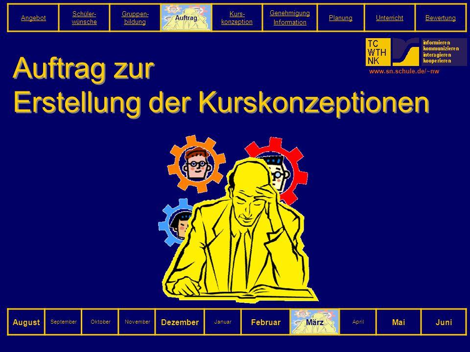 www.sn.schule.de/~nw Auftrag zur Erstellung der Kurskonzeptionen August SeptemberOktoberNovember Dezember Januar FebruarMärz April MaiJuni Angebot Schüler- wünsche Gruppen- bildung Auftrag Kurs- konzeption Genehmigung Information PlanungUnterrichtBewertung