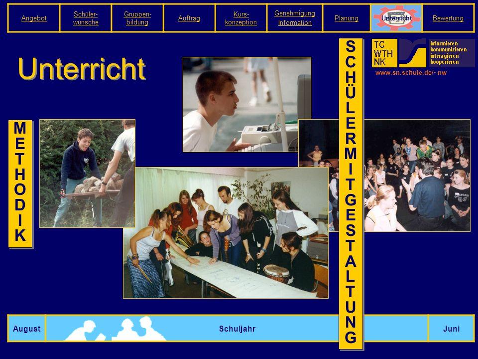 www.sn.schule.de/~nw Unterricht AugustSchuljahrJuni METHODIKMETHODIK M E T H O D I K SCHÜLERMITGESTALTUNGSCHÜLERMITGESTALTUNG S C H Ü L E R M I T G E S T A L T U N G Angebot Schüler- wünsche Gruppen- bildung Auftrag Kurs- konzeption Genehmigung Information PlanungUnterrichtBewertung