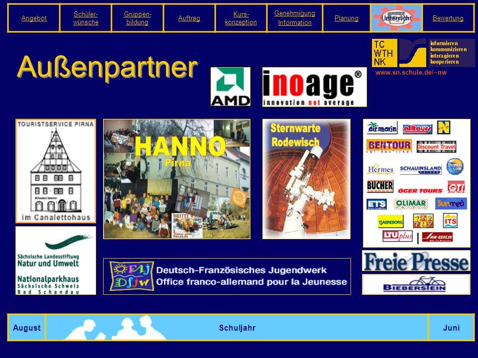 www.sn.schule.de/~nw Außenpartner AugustSchuljahrJuni Angebot Schüler- wünsche Gruppen- bildung Auftrag Kurs- konzeption Genehmigung Information PlanungUnterrichtBewertung